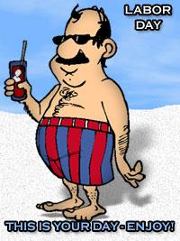 enjoy labor day - man on beach