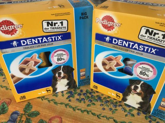 Chaque jour, au moment du Dentatix, il faut les voir remuer les queues ! Merci Christine pour ce don que votre protégé Moumou a partagé avec ses copains !