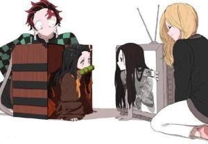 鬼滅之刃:禰豆子和貞子同時出現,看到貞子的顏值,炭治郎的臉色都變了。