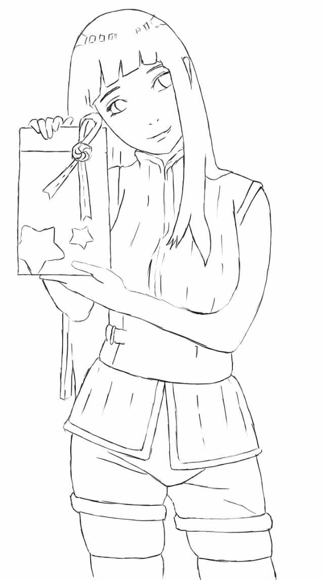hinata with gift Coloring Page - Anime Coloring Pages