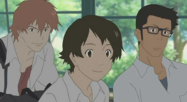 The three friends: Chiaki, Makoto, and Kousuke. Platonic, for now.