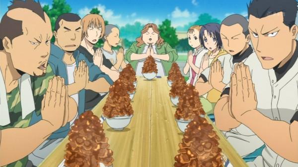Everyone shares Buta-don. Stockbreeders ritual?