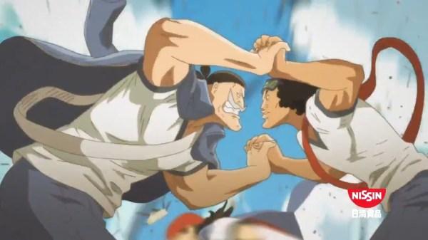 One Piece Cup Noodle reklame med slagsmål