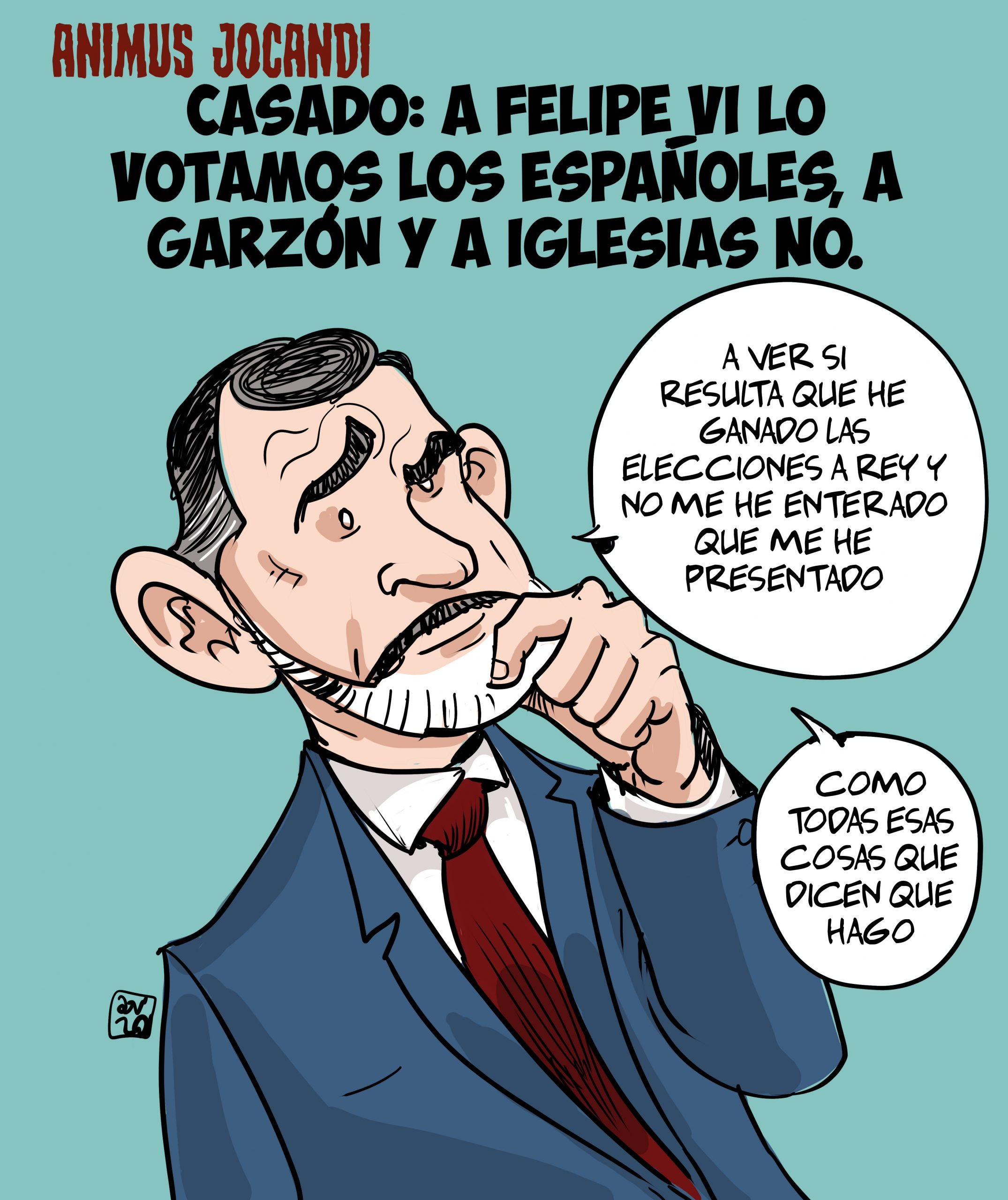 Casado: A Felipe VI lo votamos los españoles, a Garzón y a Iglesias no.