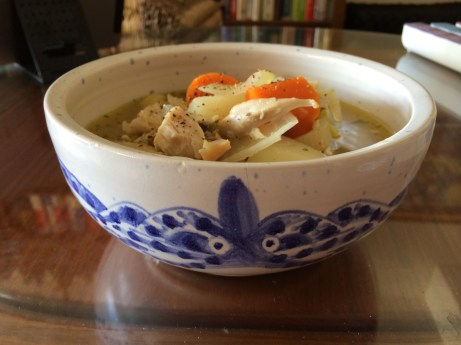 Chicken soup in angry Tako bowl.