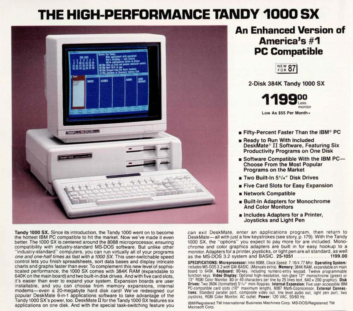 Tandy 1000SX First Advertisement
