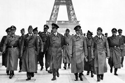 Hitler visits Paris in June 1940, after his army succeeds in conquering France