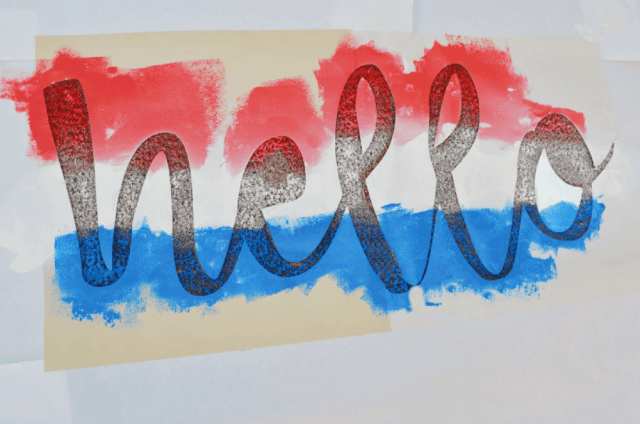 Painted Red, White and Blue Hello Vinyl for Doormat