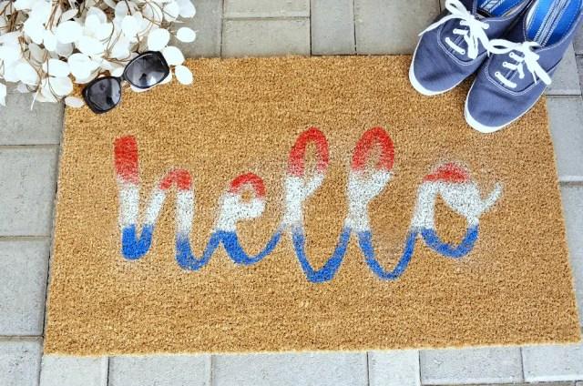 DIY hello fourth of july doormat