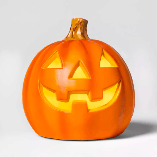 A light-up pumpkin lamp from Target.