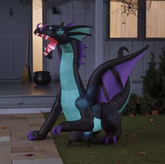 6' LED Blue Dragon Inflatable Halloween Decoration
