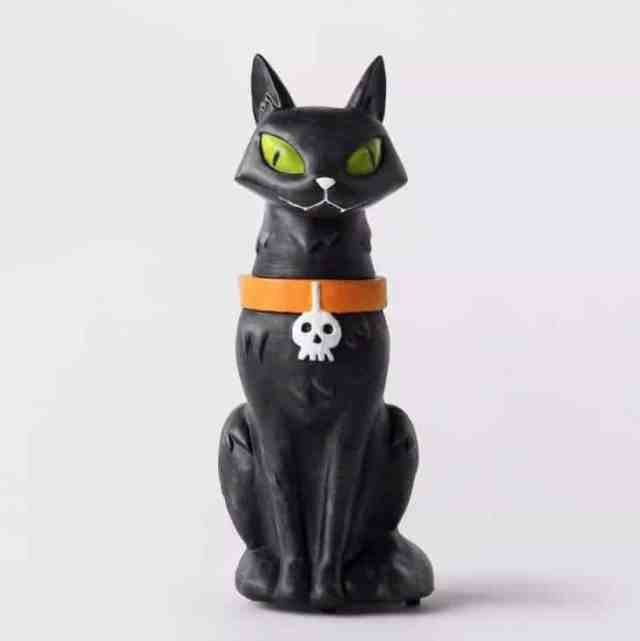 Animated Black Cat Statue Decorative Halloween Prop