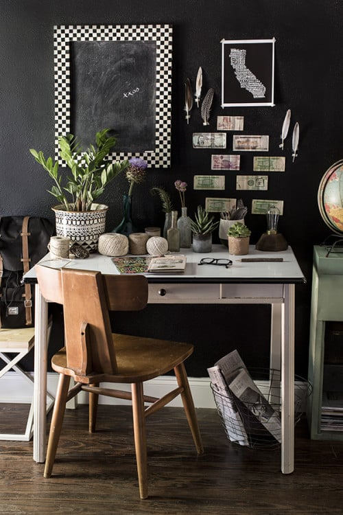 Image above: Muted black walls serve as the perfect backdrop to showcasing this homeowner's personal mementos and artwork.