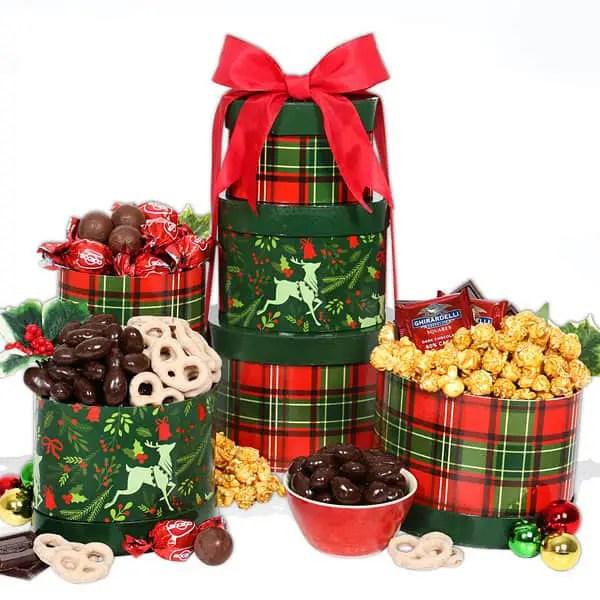 Best Christmas Gift Baskets 2019: Reindeer Treats Tower 2020