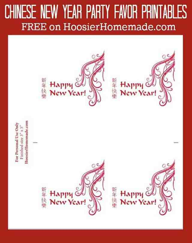 Printables for Chinese New Year Party Favors