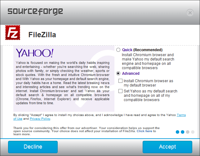 Sourceforge Filezilla Install - Optional