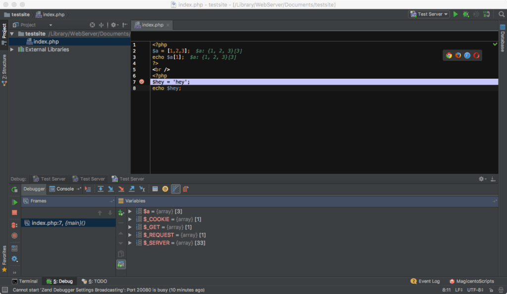 PHPStorm stopping at a breakpoint