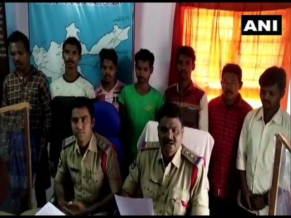 7 alleged Maoists of Andhra-Odisha (AOB) border division surrendered before police in Visakhapatnam on Sunday (Photo/ANI)