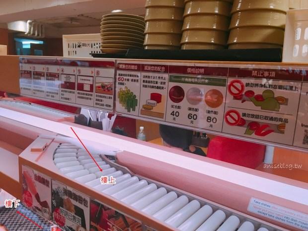 日本第一平價迴轉壽司スシロー壽司郎台北站前店,壽司壽命僅350公尺!(跌倒阿姨食記)