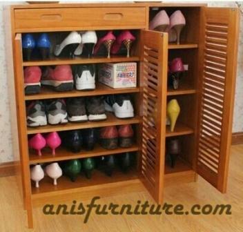 lemari sepatu jati