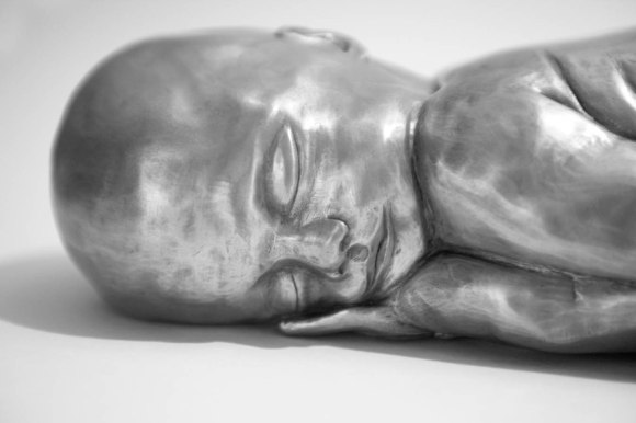 'The Gift' Aluminium & resin - life size newborn
