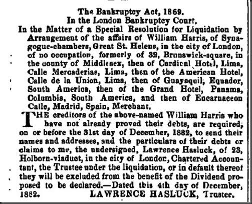William Bancruptcy 1882