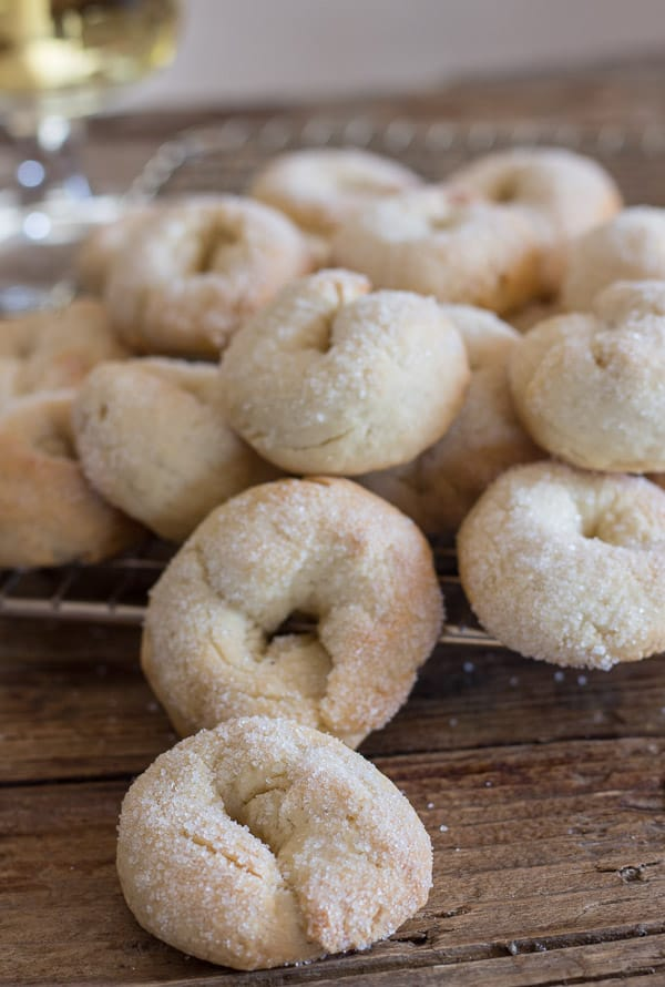 Italian wine cookies on a wire wrack
