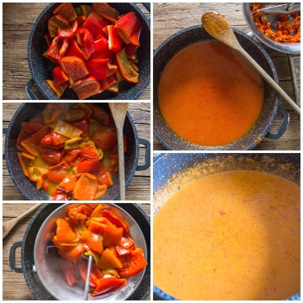 how to make pepper cream sauce cooked peppers, through a food mill, and mixed with cream