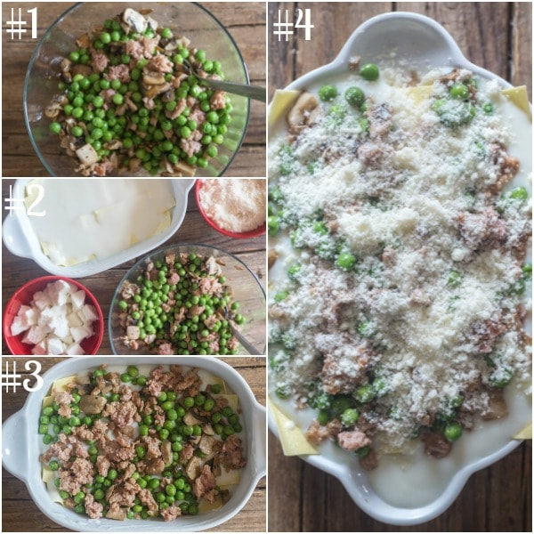 white sauce lasagna how to make mixing the ingredients, layering the lasagna and ready to bake