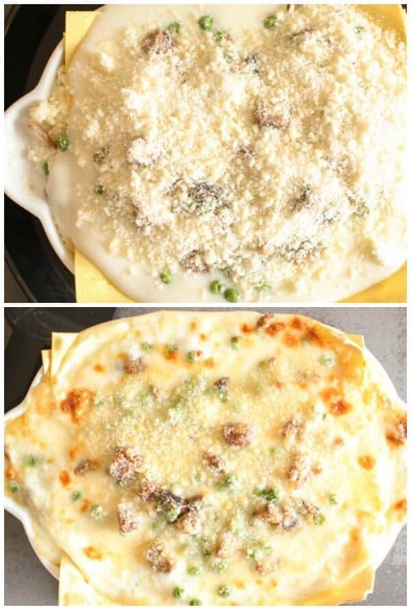 A creamy, delectable Italian Lasagna, layered with sausage, peas, mushrooms and double cheese, perfect, maybe better than the classic.