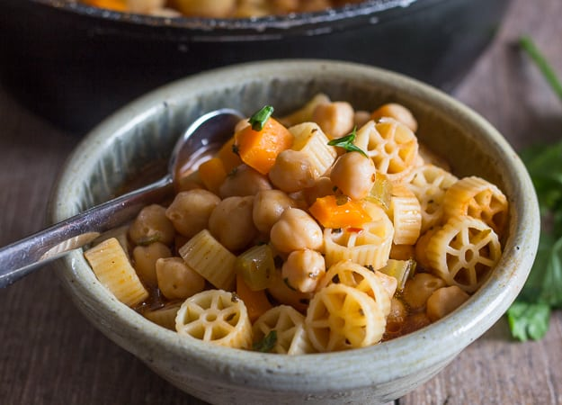 cooked chickpea soup in a bowl