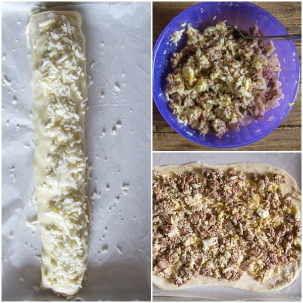 how to make calzone, sausage cheese mixture in a bowl, mixture spread on the dough and rolled up