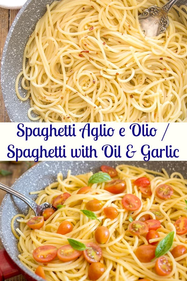 Spaghetti, Aglio, Olio e Peperoncino or also known as Spaghetti with Garlic and Oil is probably one of the most popular Italian Pasta Dishes.  Made with only 4 ingredients, this fast and easy recipe is simple yet delicious.  #pasta #Italiancuisine #dinnerrecipe