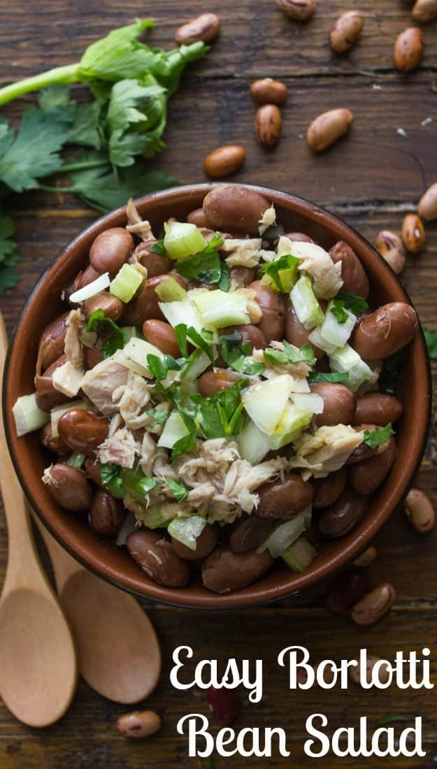 Borlotti Bean Salad, an easy, fast and delicious healthy Italian bean salad recipe. The perfect appetizer or main meal. Enjoy.