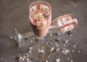 2 glasses of chocolate liqueur