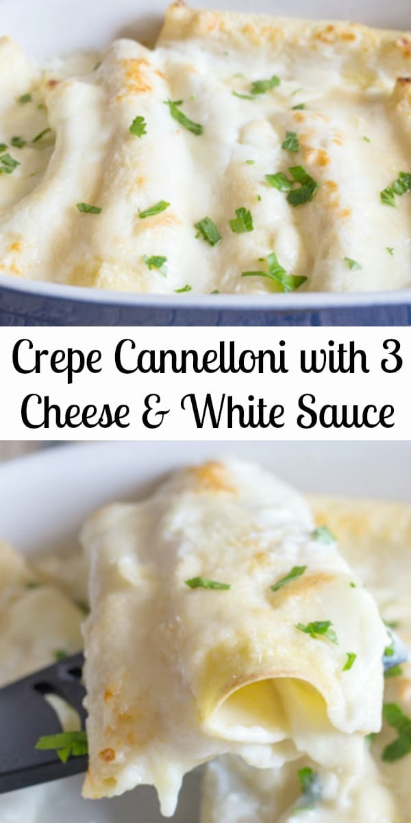 Homemade Crepe Cannelloni with Cheese & White Sauce, a delicious way to serve a Baked Pasta. Soft crepes filled with 3 types of cheese and topped with a homemade white sauce. Then Baked to perfection! #crepes #cannelloni #whitesauce #Italianrecipe #dinner