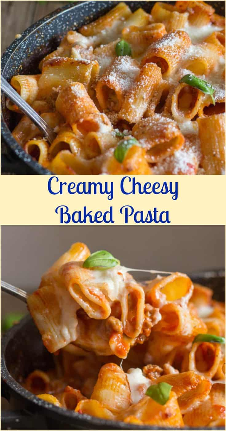 Baked Pasta, an easy #creamy #cheesy one pan #oven baked pasta recipe, a delicious #tomato sauce made with #ground beef, a family favorite.