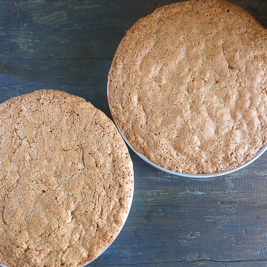 baked carrot cake in 2 cake pans