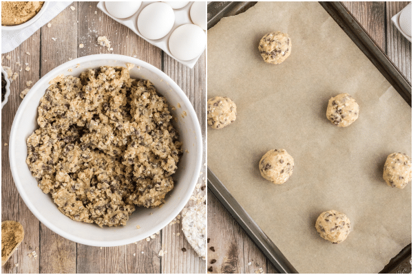 the mixed batter in a white bowl and the balls of cookie dough on a parchment paper lined cookie sheet