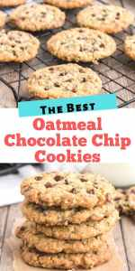These Oatmeal Chocolate Chip Cookies are a soft, thick full of chips cookie. Perfect with a glass of milk or cup of tea. Your new favourite.