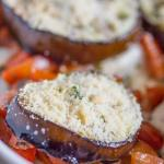 eggplant sandwiches in a baking dish