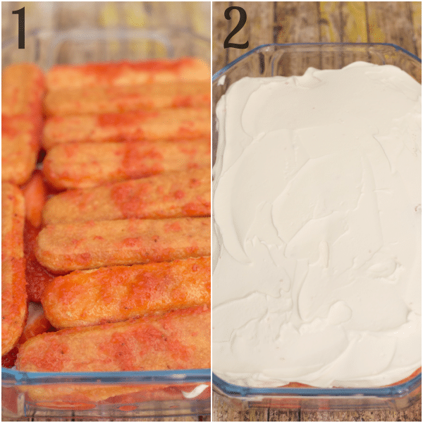 how to make strawberry tiramisu soaked lady fingers, covered in cream mixture