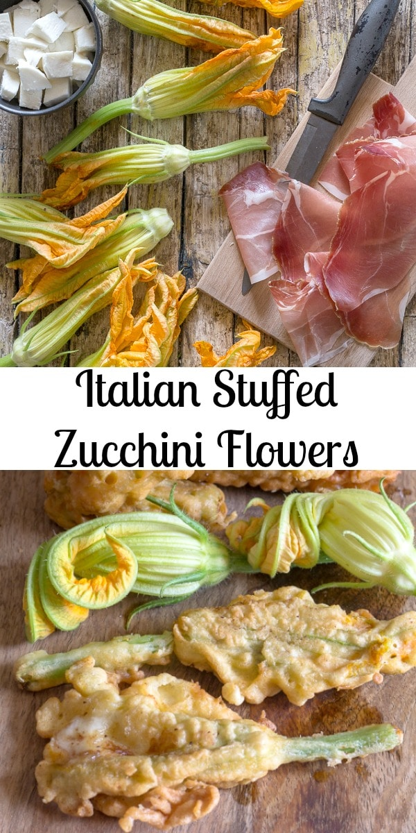Italian Stuffed Zucchini Flowers, a delicious mozzarella cheese and prosciutto stuffed summer appetizer.  Fast, easy and definitely a must try! #zucchiniflowers #zucchiniblossoms #appetizer #Italianrecipe #sidedish
