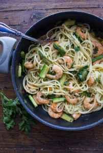 zucchini & shrimp pasta in a skillet
