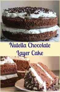Nutella Chocolate Layer Cake, an easy layer cake dessert, the perfect birthday, Holiday or any day cake recipe.  Decadent and delicious.