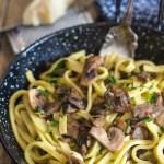 mushroom pasta in a pan