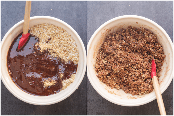 making the crumb mixture, ingredients in a white bowl and mixed together