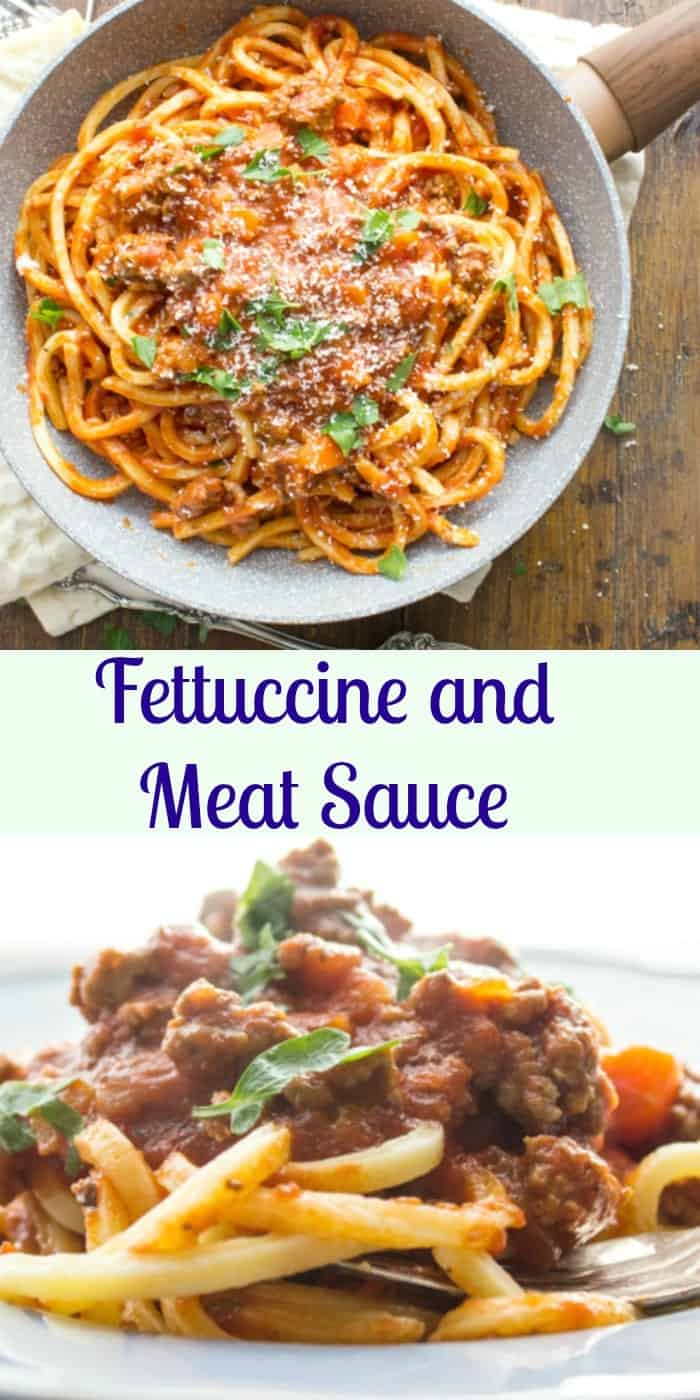 Fettuccine and meat sauce one of the most delicious Italian recipes. An easy, healthy tomato sauce, the perfect addition to any pasta.|anitalianinmykitchen.com
