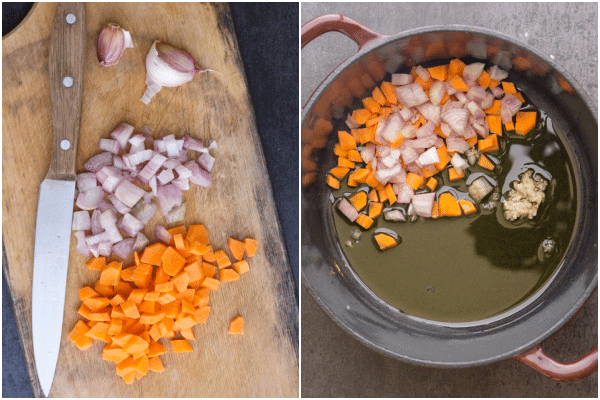 how to make beef stew chopped veggies on a wooden board and in the pan with oil