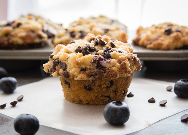 blueberry chocolate chip muffin with 2 blueberries and 3 mini chocolate chips beside it